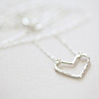 sterling silver open heart necklace  hammered dainty by moncadeau