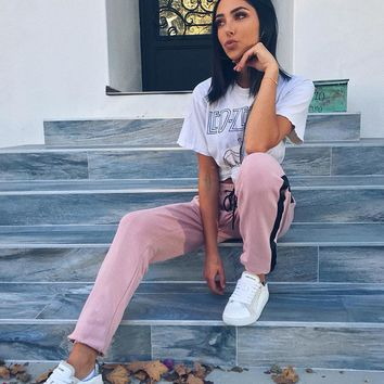 Women's Fashion Summer Patchwork Casual Pink Pants [526039384079]