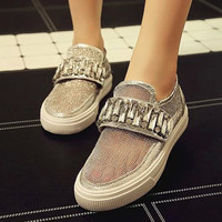 Design Stylish Summer Shoes Round-toe Hollow Out Casual Flats Metal Lace Permeable Rhinestone Sandals [4920339716]