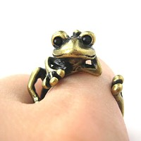 Funny Frog Animal Wrap Around Hug Ring in Brass | US Size 4 - 9