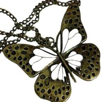 Zehui Retro Vintage Classical Noble Hollow Out White Wings Butterfly Necklace Pendant