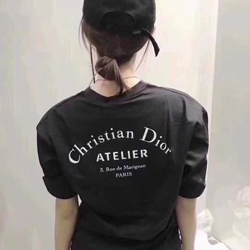 """""""Dior"""" Women Casual Simple Letter Print Round Neck Short Sleeve T-shirt Top Tee"""
