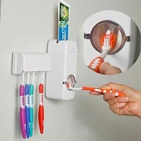Automatic Squeezer Toothpaste Wall Mount Stand High Quality Plastic Toothbrush Dispenser Holder