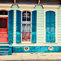 """New Orleans Photograph, """"turquoise shutters"""" Travel Photography, Colorful Pastel Houses, French Quarter"""