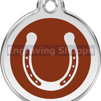 Horse Shoe Enamel and Stainless Steel Personalized Custom Pet Tag with LIFETIME GUARANTEE ID Tag Dog Tags and Cat Tags Free Engraving