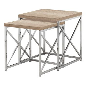 Nesting Table - 2Pcs Set / Natural With Chrome Metal