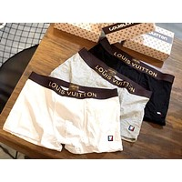 LV 2019 new men's cotton breathable boxer briefs three-piece