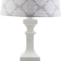 Carolina Outdoor Table Lamp White Gray Print