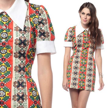 60s Hippie Dress Mod Mini Psychedelic Collar Print Babydoll 70s Retro Puff Sleeve Vintage 1960s Red Green Yellow High Waist MiniDress Small