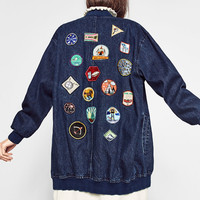 LONG PATCH BOMBER JACKETDETAILS