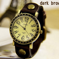 Vintage Carved Head Strap of Leather Watch