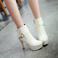 Round Toe Buckle Zipper Women's Ankle Boots High Heels 5087