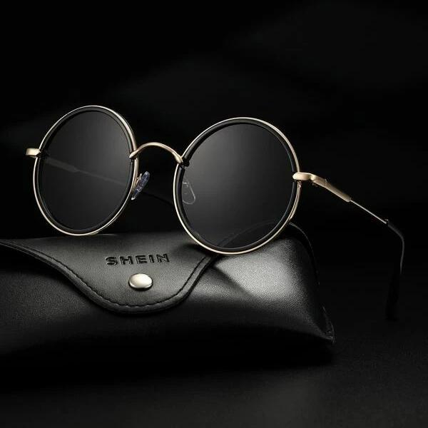 Image of Fashion Casual Men Round Frame Sunglasses With Case