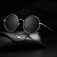 Fashion Casual Men Round Frame Sunglasses With Case