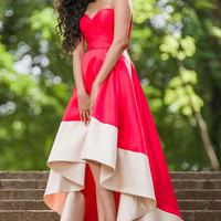 Red and Champagne Strapless Prom Dress 32666