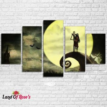5 Pieces Home Decor Nightmare Before Christmas Painting
