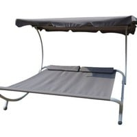 Outsunny Double Hammock with Steel Stand and Sun Shade - Light Gray