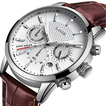 2020 New Mens Watches LIGE Top Brand Leather Chronograph Sports Watch
