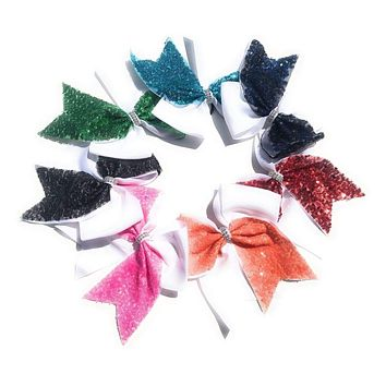"""Girls 6.5"""" Sequin Cheer and Dance Hair Bows"""