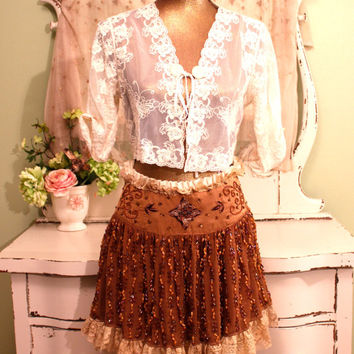 Boho Chic Skirt - Hippie Midi - Beaded Skirts - Bohemian Clothing - Cowgirl Gypsy Clothes - Vintage Lace Embellished Shabby Skirt -  S / M