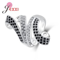 JEXXI Black Charming Design Rings For Women Men Unique Gifts Lively Occasion Suitable 925 100% Sterling Silver Cubic Zirconia