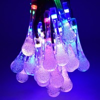 LED Water Drop Solar Powered Fairy String Lights