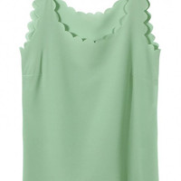 Light Green Chiffon Vest with Scallop Hem