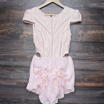 final sale - thalia crochet cap sleeve short romper - baby pink