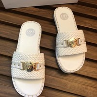 White VERSACE Fashion Women Sandal Slipper Shoes