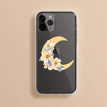 Floral Crescent Moon Clear Phone Case