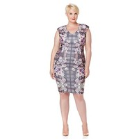Stories... by Kelly Osbourne Floral and Plaid Ponte Dress | HSN