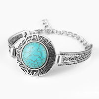 Gypsy Tibetan Silver Bracelets Bohemain Turquoise Bangle For Women Bracelet Vintage Jewelry Band pulsera brazalete Accessory