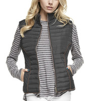 Lined Quilted Vest - Black, Brown, Taupe, Navy