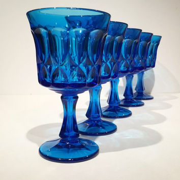 Set of 5 Noritake Blue Perspective Glass Goblets, Noritake Perspective Cobalt Blue Pressed Glass Water Glasses, Colonial Blue Wine Glasses