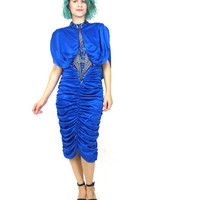 80s Blue Sequin Dress Draped Glam Trophy Dress Cobalt Blue Beaded Sheer Bodycon Draped Back Evening Gown New Years Cocktail Party (S/M)