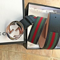 Authentic New Gucci Black/Green/Red GG Buckle Belt Size 100cm 34-36 Waist