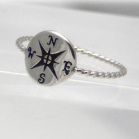 Sterling silver compass ring, compass ring, nautical ring, women, friend, mother, daughter, eco friendly, statement, novelty