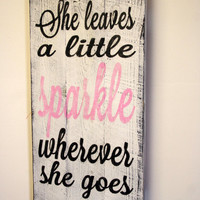 She Leaves A Little Sparkle Nursery Sign Pallet Wood Sign Shabby Chic Nursery Decor Vintage Look Sign Pink Nursery Decor Girls Room Decor