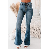 """""""Fortune Favors The Bold"""" High Rise Flare Jeans (Medium)"""