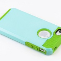 MagicSky TPU + PC Hybrid Case for Apple iPhone 4 4S 4G - 1 Pack - Retail Packaging - Green/Light Blue