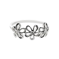 925 Sterling Silver Flower Ring Cubic Zirconia CZ