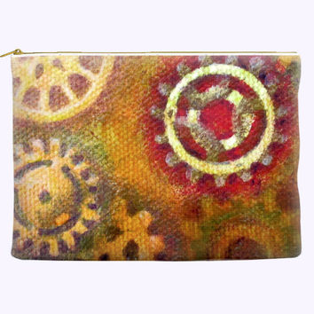 Steampunk Gears Zippered Cosmetic Bag