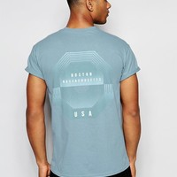 River Island | River Island T-Shirt With Back Print In Blue at ASOS