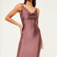 Missguided - Purple Slinky Strappy Cowl Neck Dress
