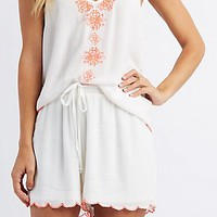 EMBROIDERED SCALLOPED SHORTS