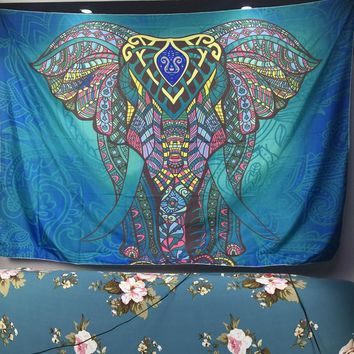 Tapestry Multi Elephant hippie Wall Hanging Art Decor Mandala Tapestry Hippie Dorm Good Luck Multi color