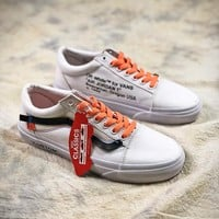 Off White x Vans Old Skool VN-0D3NB99 White Black Orang Shoes - Best Online Sale