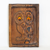 Vintage Carved Wood Owl Wall Hanging Felt Eyes, Carved Cryptomeria 3D Art Picture, 1970s Kitsch Rustic Cabin Decor