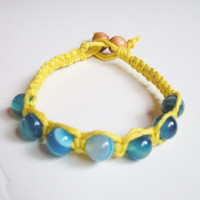 Yellow Hemp Bracelet with Blue Agate Beads, ready to ship.