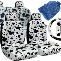 12 pieces COW White & Black Interior Seat Cover set With Front Low Back Seat Covers, Rear Bench Seat Cover WITH FREE Microfiber WASH MITT - Premium Padded Interior Set By Unique Imports
